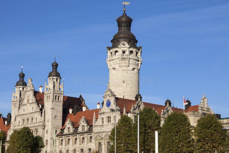新的市政厅在莱比锡 库存照片