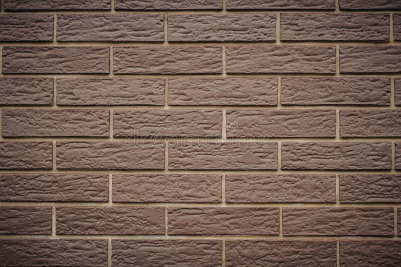 新的干净的棕色砖墙褐色背景纹理 免版税库存照片