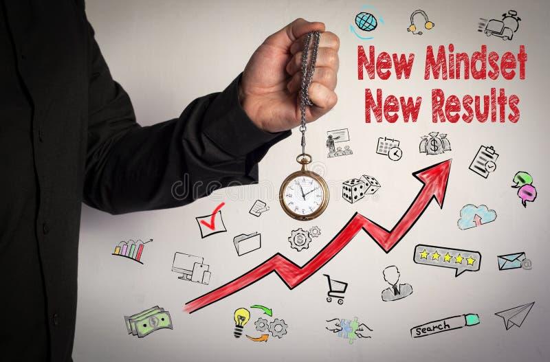 新的心态新的结果概念 红色箭头和象 拿着在白色背景的人链时钟 免版税库存图片