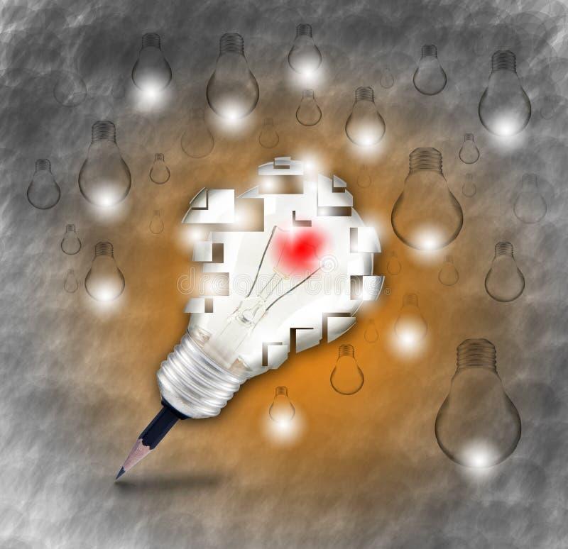 新的想法的铅笔和电灯泡标志和创造性, 皇族释放例证