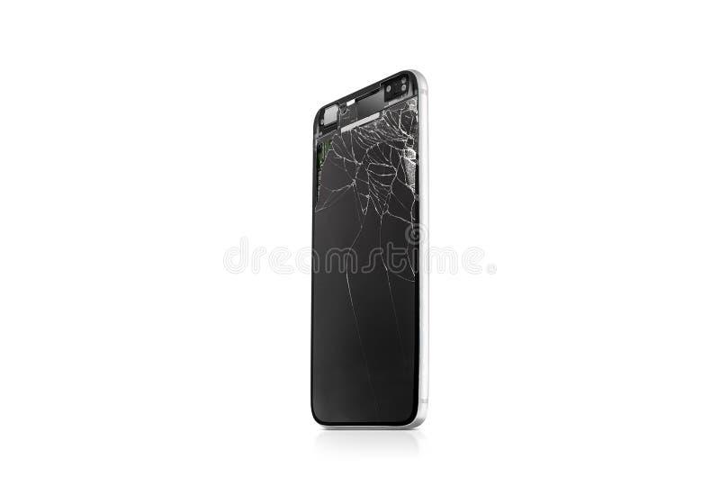 新的打破的手机屏幕嘲笑,侧视图,被隔绝 库存照片