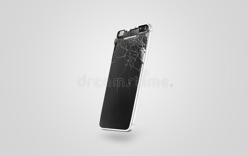 新的打破的手机显示大模型,侧视图 图库摄影