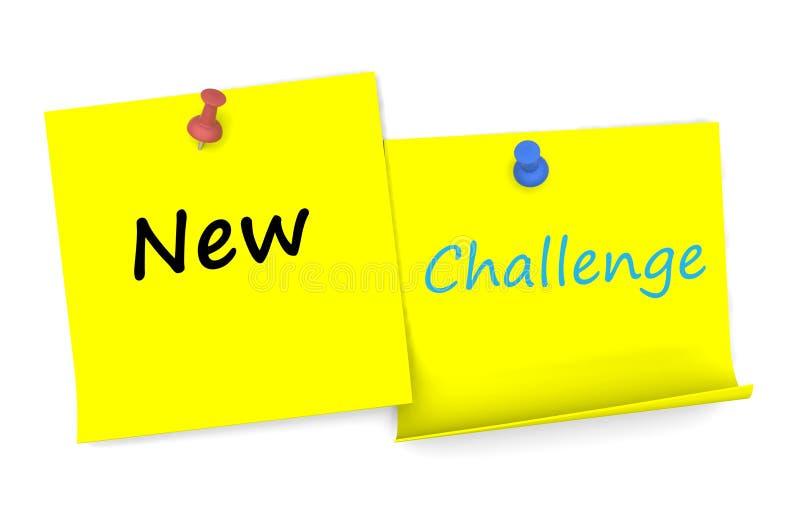 新的挑战,在便条纸的消息与别针 向量例证