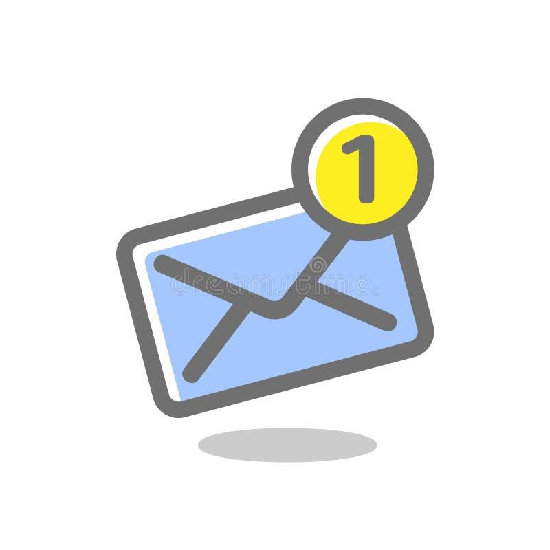 新的接踵而来的通知消息 邮件信封象 在白色背景的明亮,色的传染媒介例证 皇族释放例证