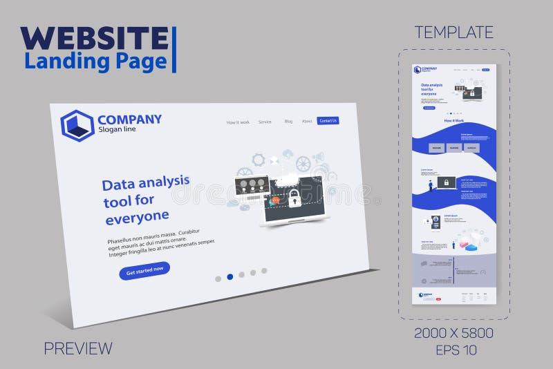 新的时髦网站着陆页传染媒介题材模板 库存例证