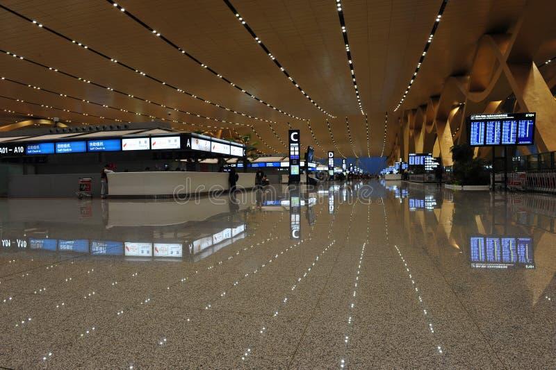 新的昆明机场,启运霍尔 图库摄影