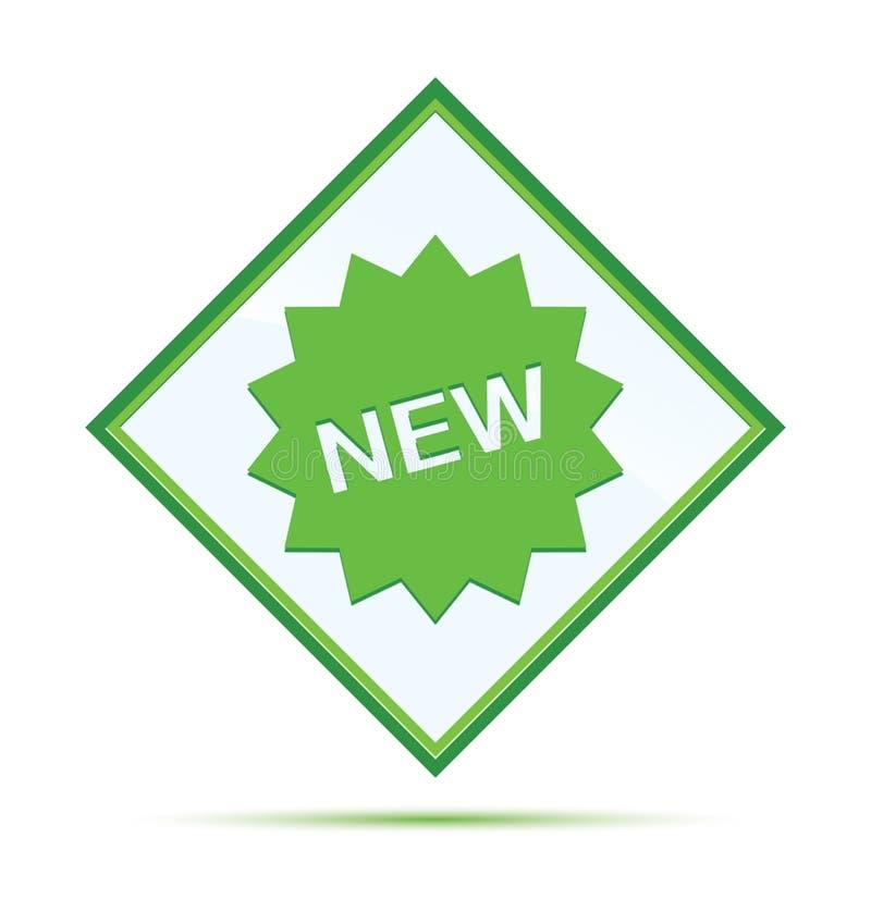 新的星徽章象现代抽象绿色金刚石按钮 皇族释放例证