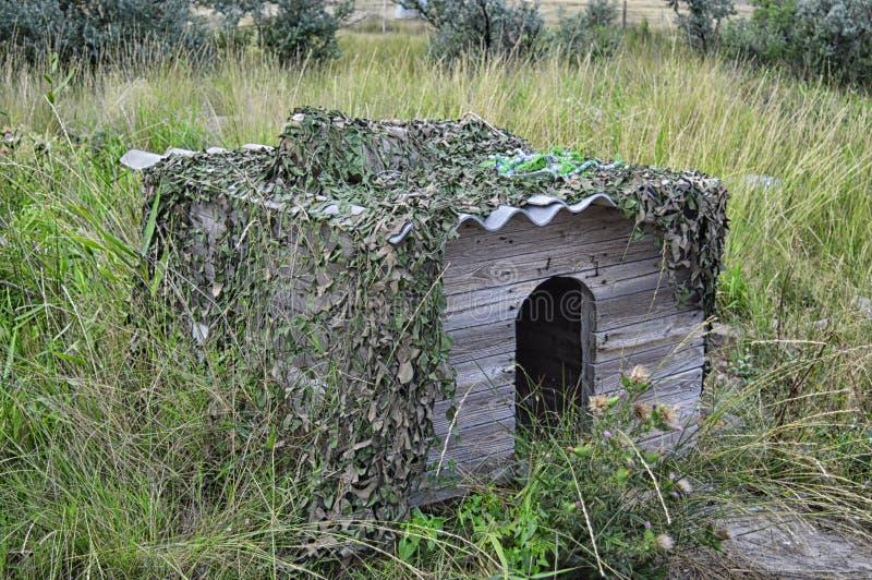 新的木犬小屋在围场 库存照片