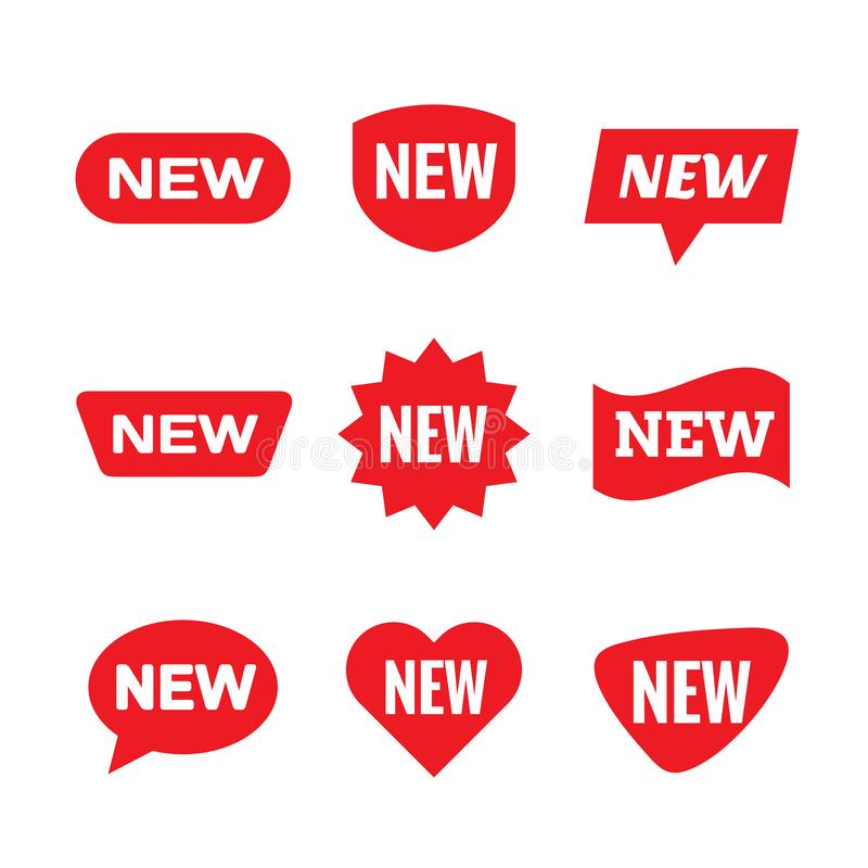 新的标记标志-概念stiker标号组 红色消息创造性的标志收藏 向量例证