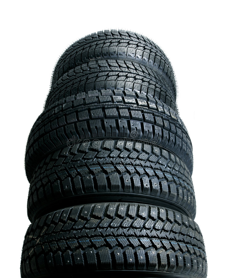新的栈轮胎 免版税库存照片