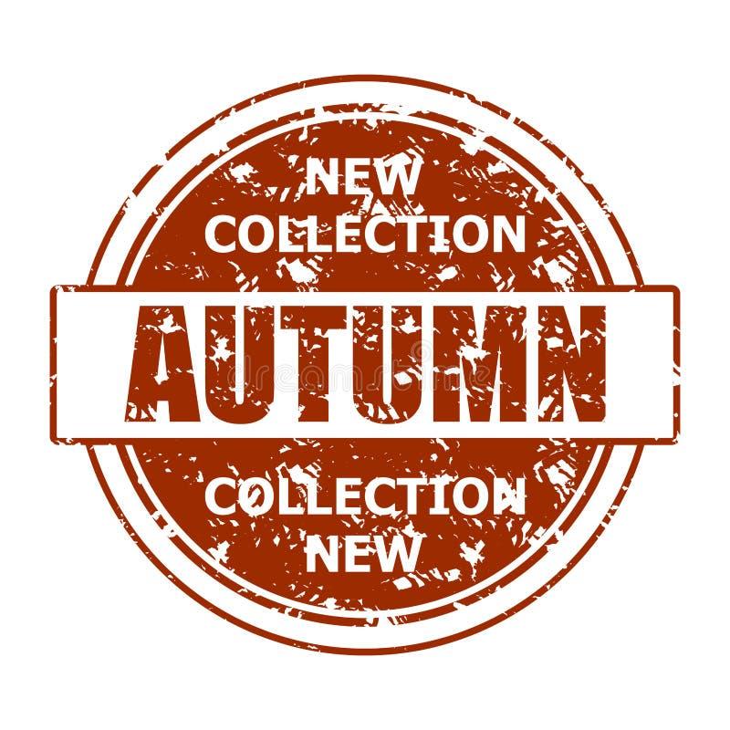 新的汇集秋天邮票印刷品纹理伯根地 向量例证
