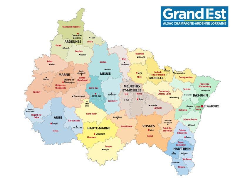 新的法国地区与商标的盛大est的后勤情况图 库存例证