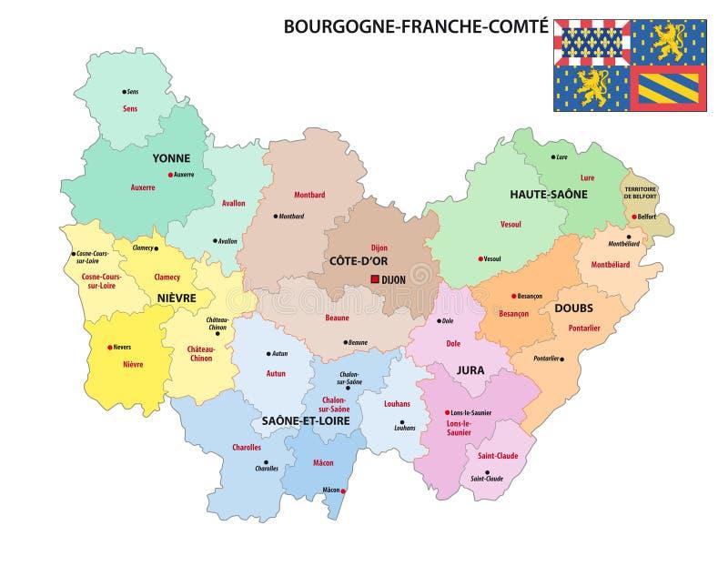 新的法国地区布戈尼Franche孔德的后勤情况图 皇族释放例证