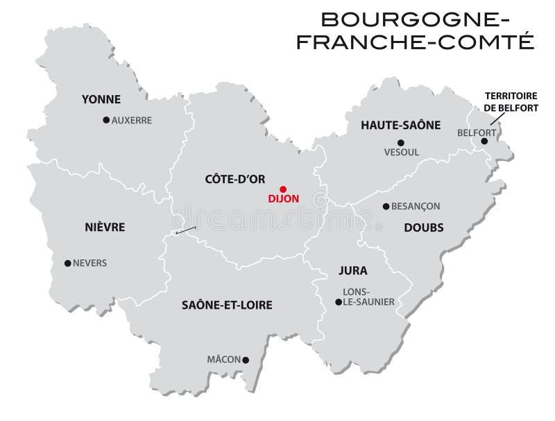 新的法国地区布戈尼Franche孔德的简单的灰色后勤情况图 向量例证