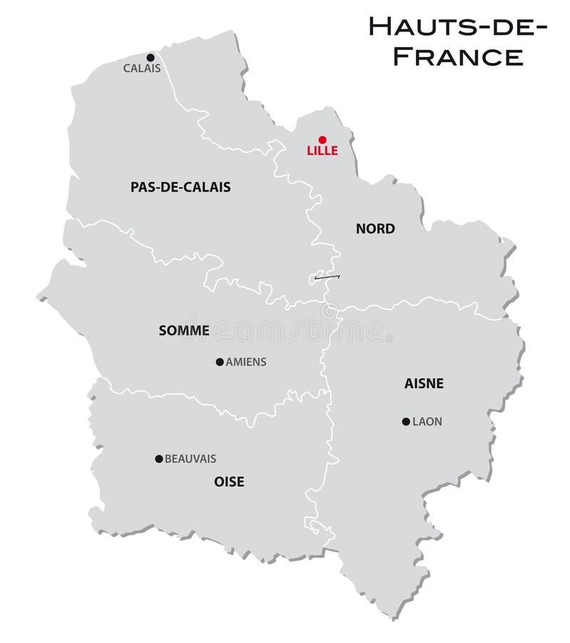 新的法国地区Hauts de法国的简单的灰色后勤情况图 向量例证