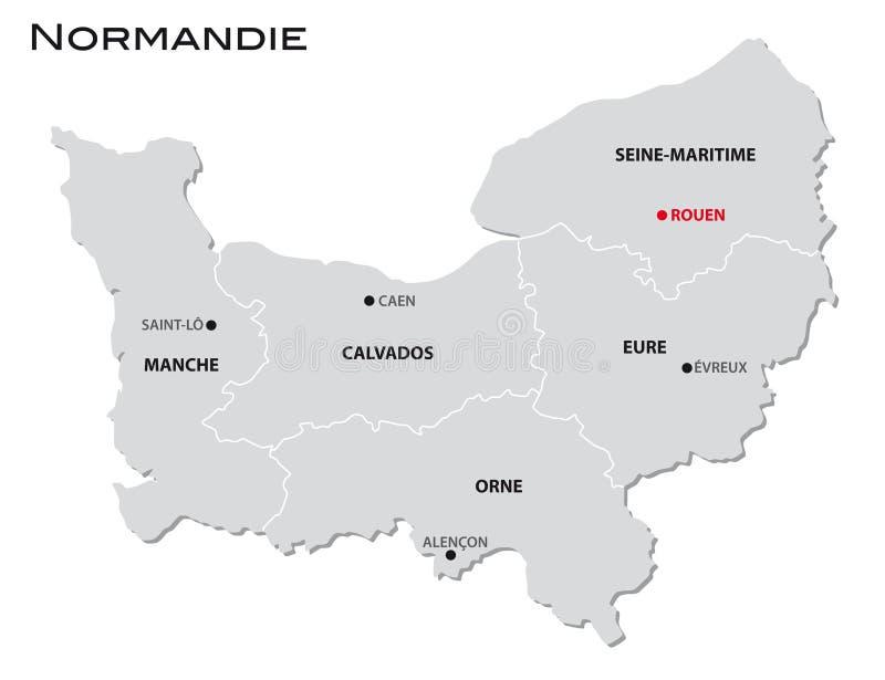 新的法国地区normandie的简单的灰色后勤情况图 皇族释放例证