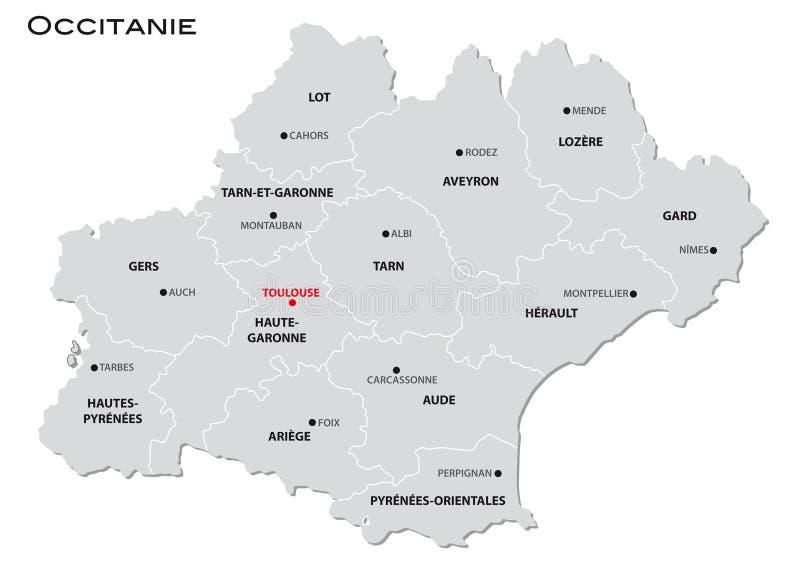 新的法国地区Occitanie的简单的灰色后勤情况图 皇族释放例证