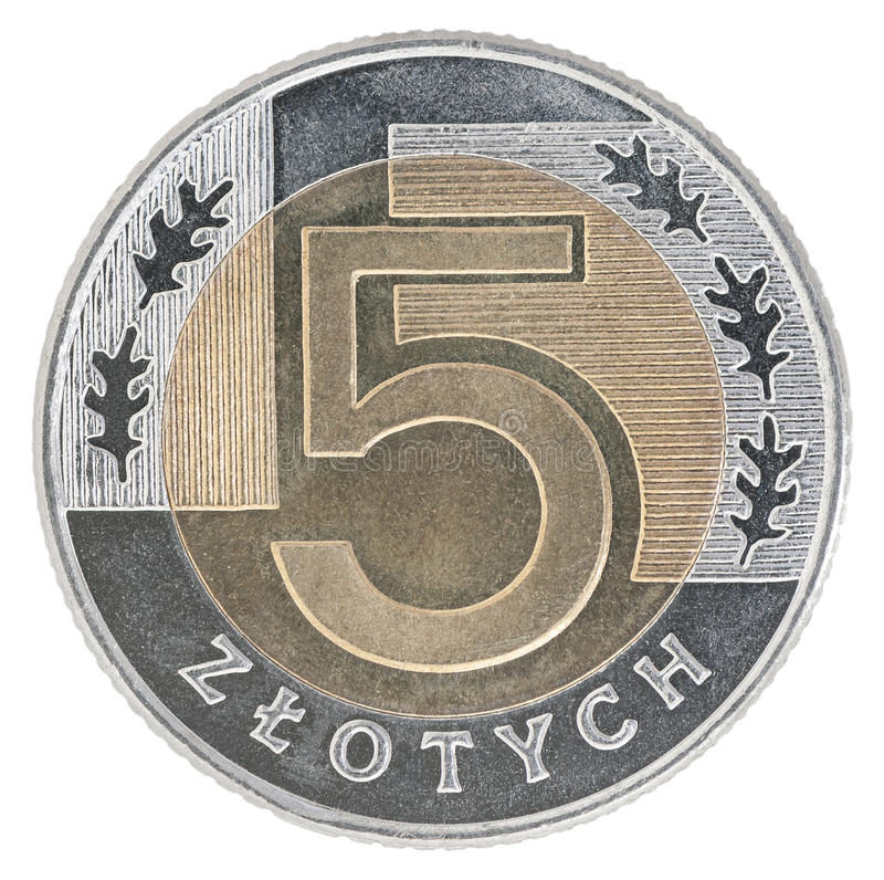新的波兰兹罗提硬币 免版税库存照片
