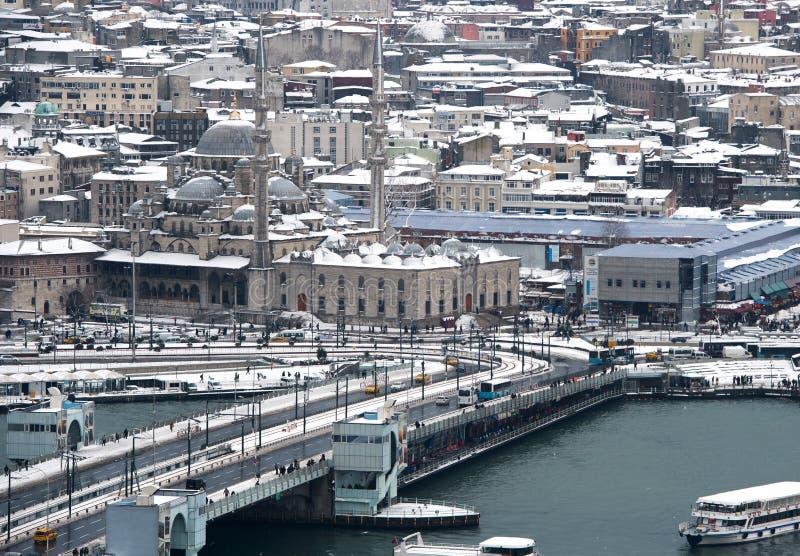 新的清真寺Ä°stanbul看法从加拉塔塔的 图库摄影
