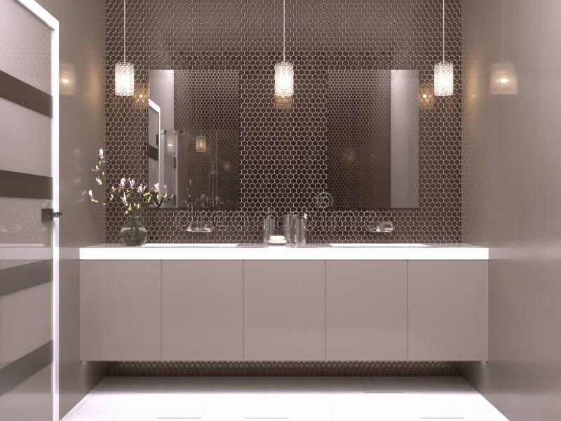 新的现代卫生间室内设计 皇族释放例证