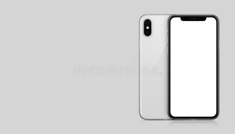 新的现代白色在灰色背景的智能手机大模型前面和后部与拷贝空间 皇族释放例证