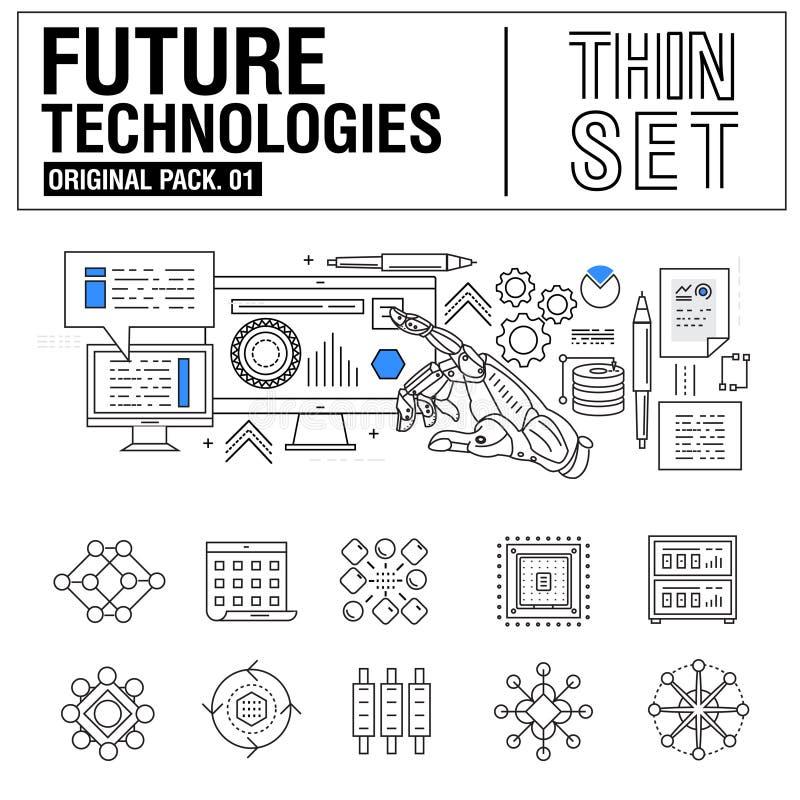 新的现代稀薄的线象设置了未来技术  库存例证