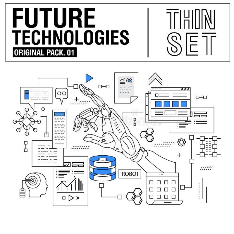 新的现代稀薄的线象设置了未来技术  向量例证