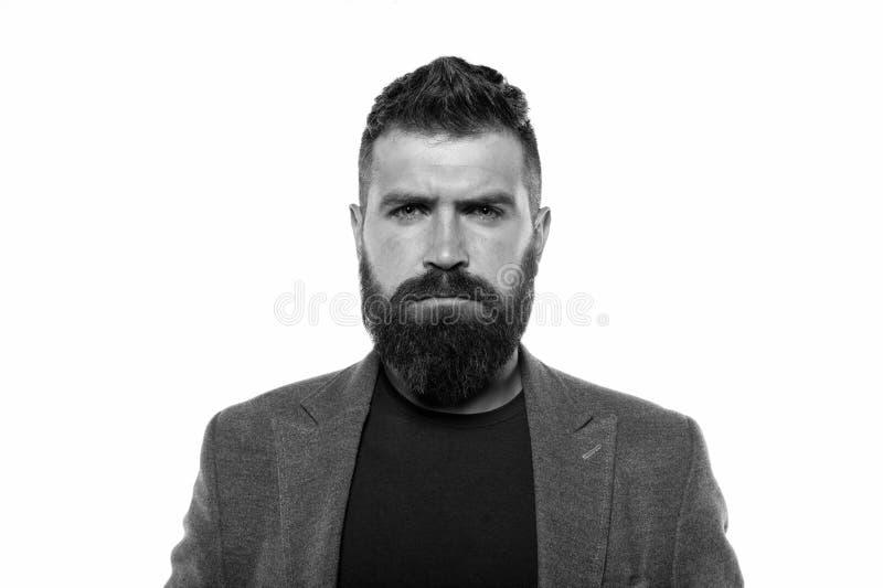 新的理发的时刻 r 确信和英俊的残酷人 可及胡子理发由美发师理发店 库存照片