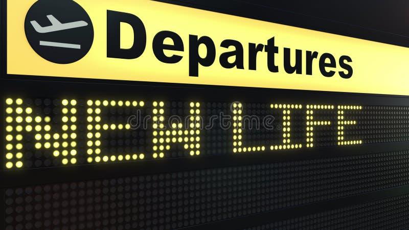 新的生活措辞出现在机场离开委员会 3d翻译 皇族释放例证