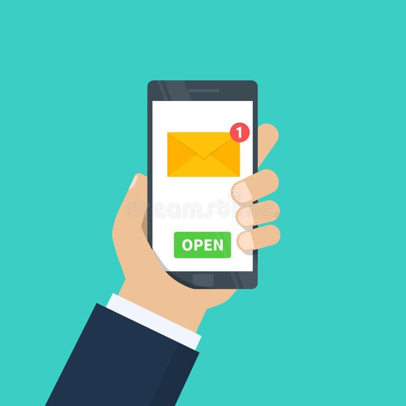 新的电子邮件 拿着有电子邮件应用的人的手智能手机 手机,有新的未经阅读的电子邮件的屏幕 向量例证