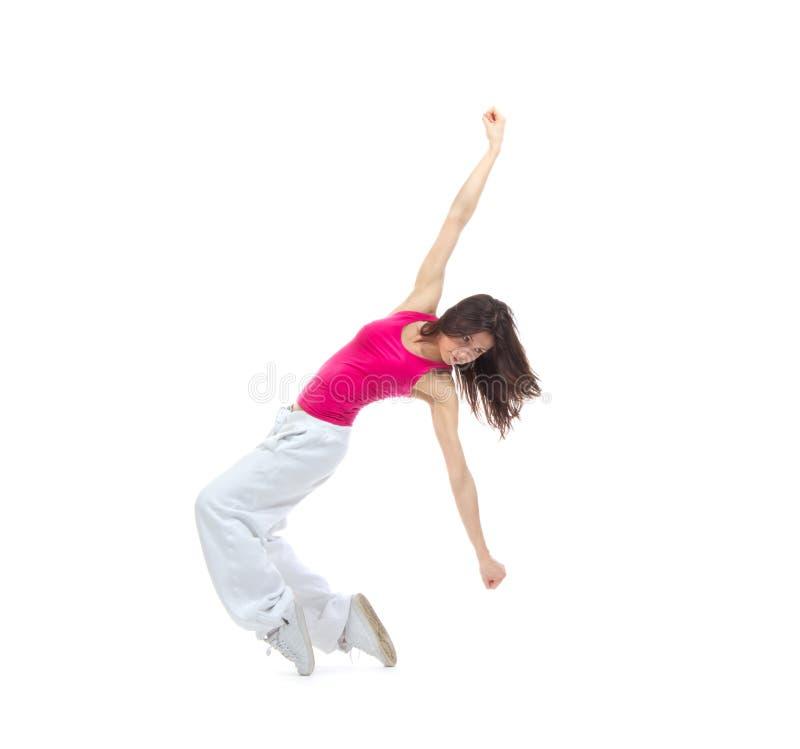 新的相当现代微小的节律唱诵的音乐样式妇女舞蹈家霹雳舞 免版税库存照片