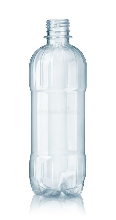 新的空的塑料清楚的水瓶正面图  库存照片