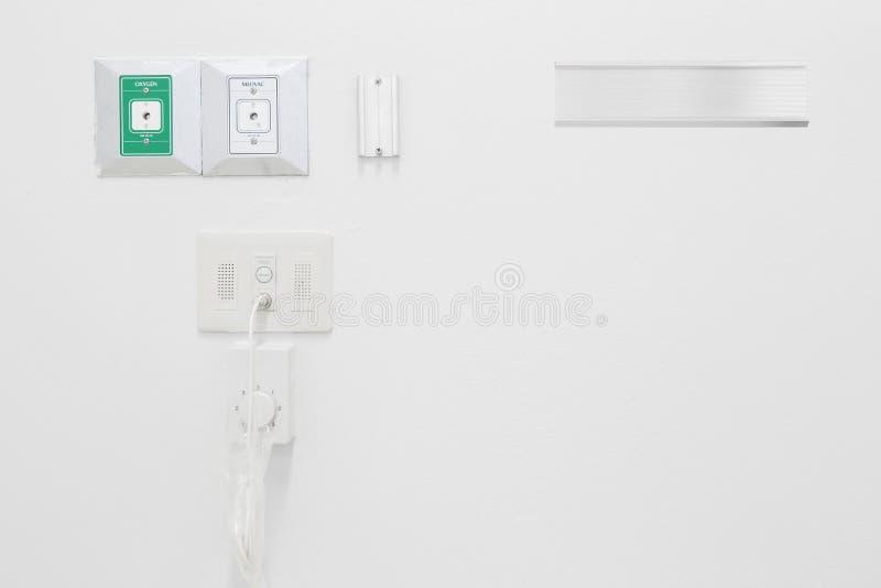 新的空的氧气和真空管道在医院 库存照片
