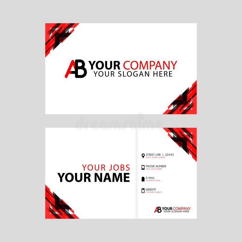 新的简单的名片是与AB商标信件奖金和水平的现代干净的模板传染媒介设计的红色黑色 库存例证
