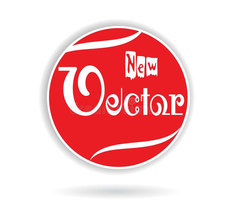 新的红色传染媒介名字商标 库存例证