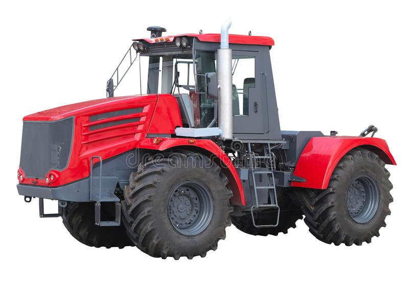 新的红色强有力的拖拉机被隔绝在白色 免版税库存照片