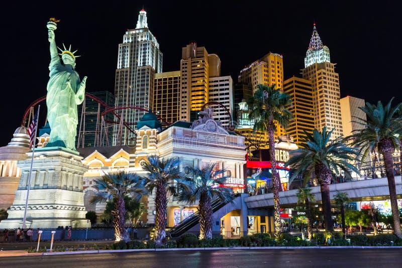 新的约克新的约克旅馆和赌博娱乐场看法在晚上 免版税图库摄影