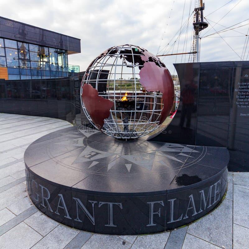 新的罗斯,爱尔兰- 2019年1月22日-移居火焰 免版税库存图片