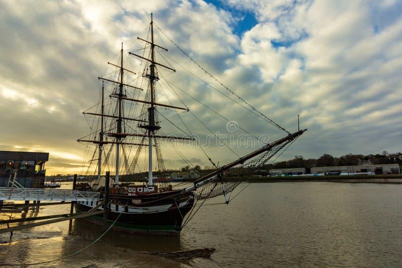 新的罗斯,爱尔兰- 2019年1月22日- Dunbrody饥荒船 免版税图库摄影