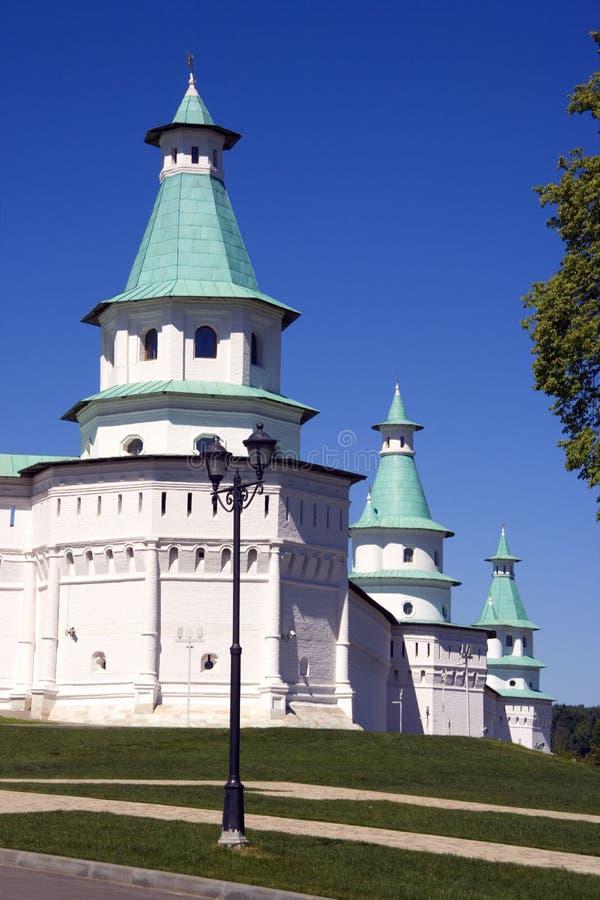 新的耶路撒冷修道院墙壁警卫塔纪念碑,东正教漏洞 免版税库存照片