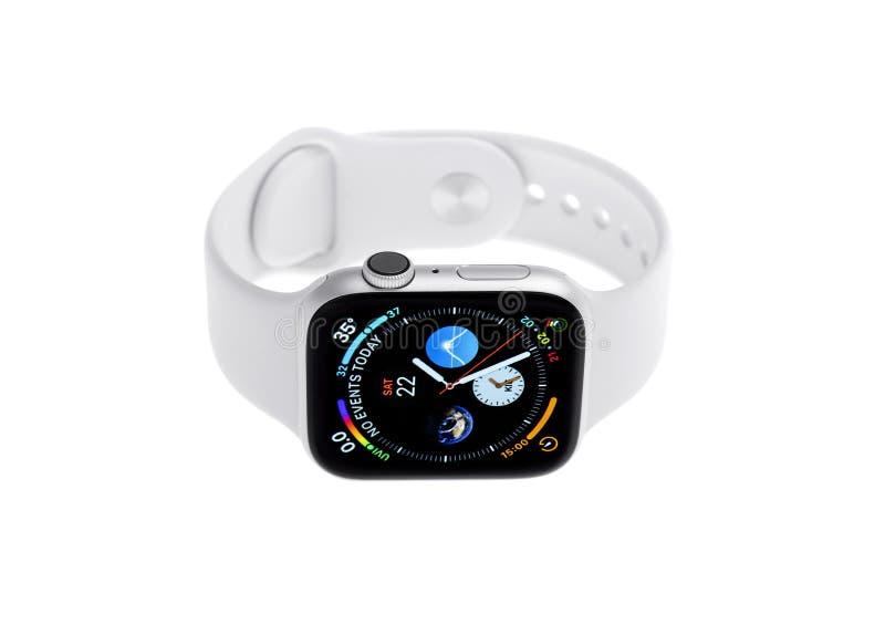 新的苹果计算机手表4,在白色背景的44英寸 免版税库存照片