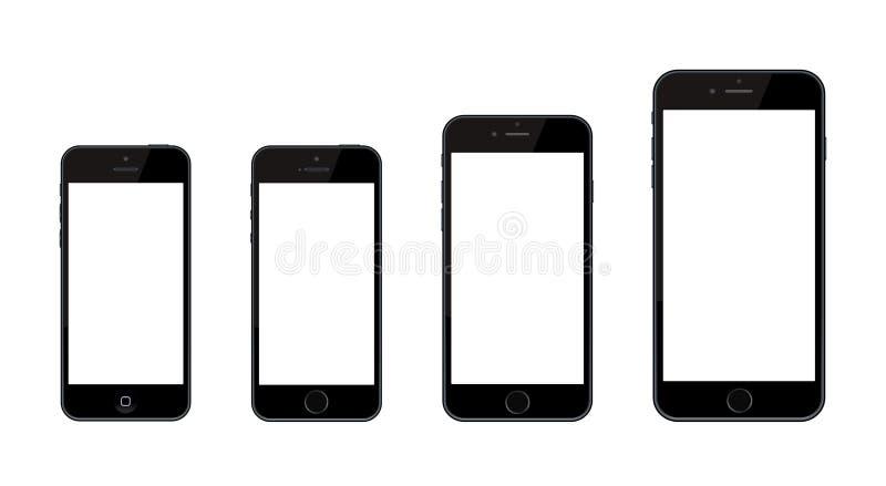 新的苹果计算机正iPhone 6和iPhone 6和iPhone 5 向量例证
