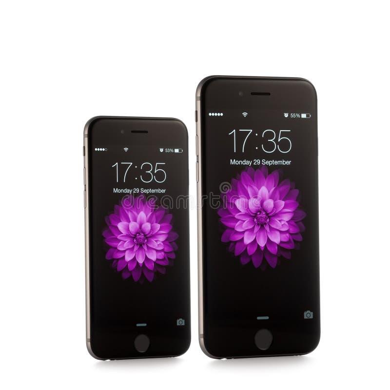 新的苹果计算机iPhone 6和iPhone 6正前方 图库摄影