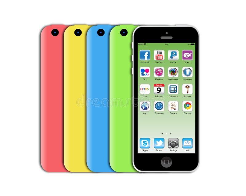 新的苹果计算机iphone 5c 编辑类库存图片