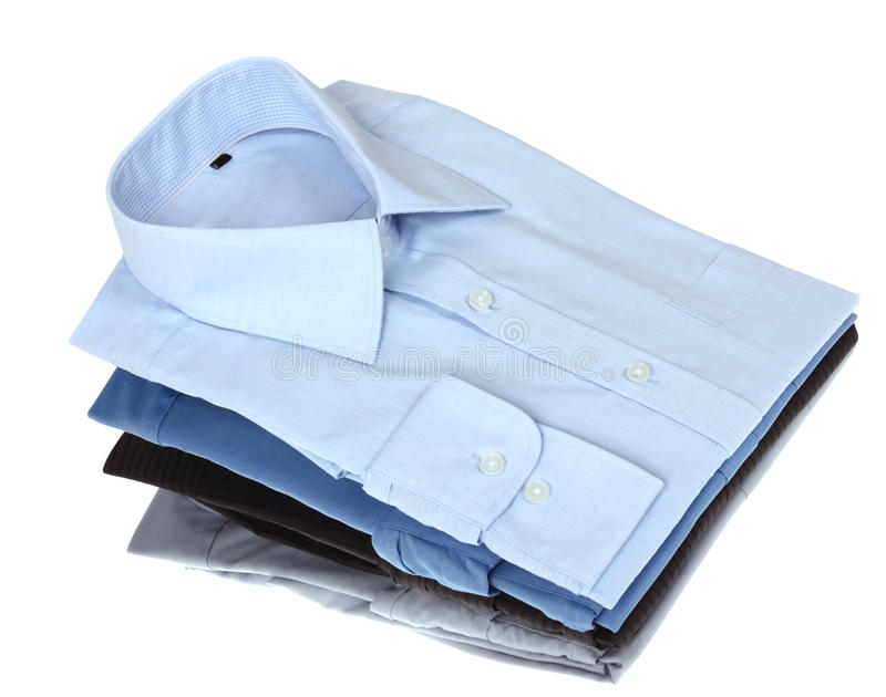 新的蓝色和灰色人的衬衣 库存照片