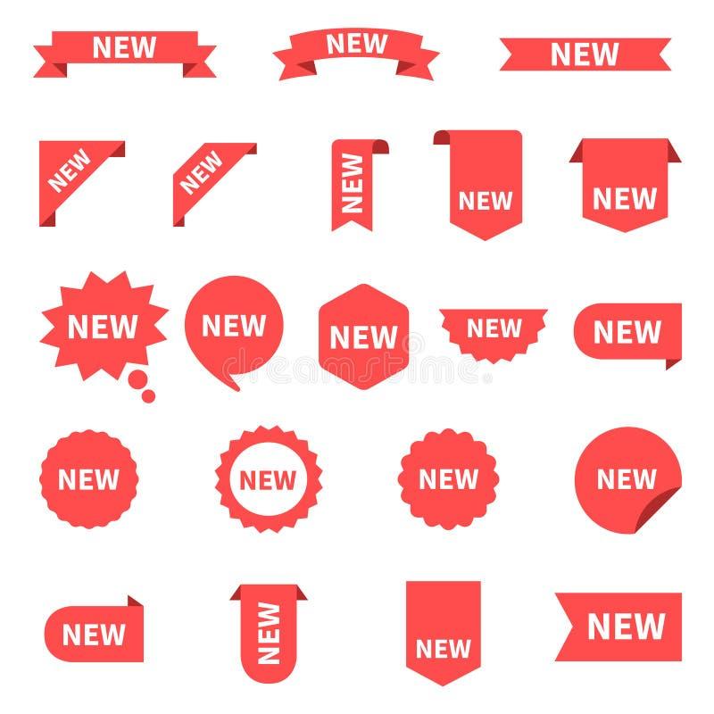 新的贴纸集合标签 与提议的产品贴纸 新的标签或销售海报和横幅 与文本的贴纸象 红色 向量例证