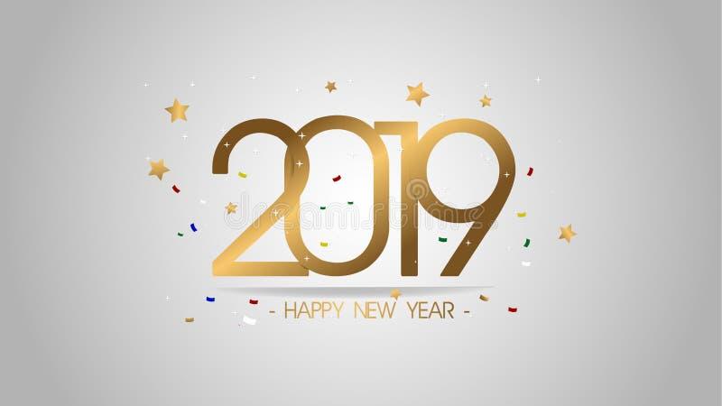 新的贺卡和其他的优质传染媒介例证新年快乐2019年背景 了不起的现代和豪华设计 皇族释放例证