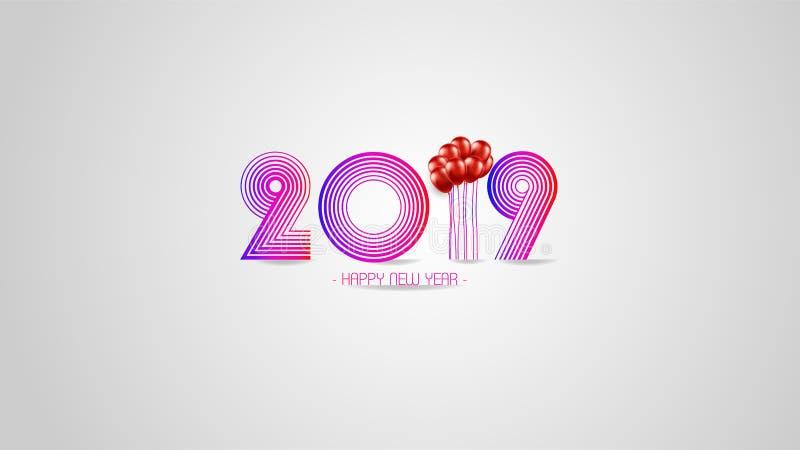 新的贺卡和其他的优质传染媒介例证新年快乐2019年背景 了不起的现代和豪华设计 库存例证