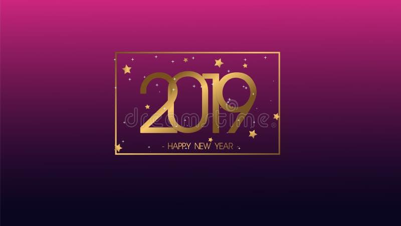 新的贺卡和其他的优质传染媒介例证新年快乐2019年背景 了不起的现代和豪华设计 向量例证
