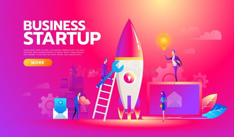 新的起始的项目经营计划,投资查寻的发展 工作在发射的成功的企业队  库存例证